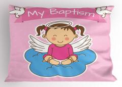 Kız Bebek Yastık Kılıfı Sevimli Vaftiz Temalı