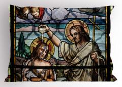 İsa ve Aziz John Vitrayı Desenli Yastık Kılıfı