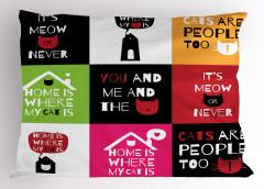 Kedi Sözleri Desenli Yastık Kılıfı Geometrik Şık