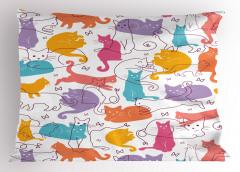 Rengarenk Kediler Yastık Kılıfı Şık Tasarım Trend