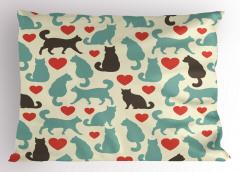 Aşk Kedileri Desenli Yastık Kılıfı Romantik Şık