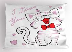 Aşık Kedi Desenli Yastık Kılıfı Pembe Kalp Romantik