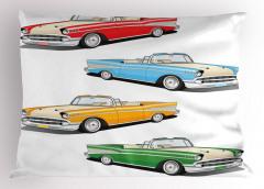Rengarenk Klasik Araba Desenli Yastık Kılıfı Nostaljik