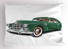 Nostaljik Yeşil Araba Desenli Yastık Kılıfı Klasik