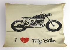 Motosikletimi Seviyorum Yastık Kılıfı Kalp Nostaljik