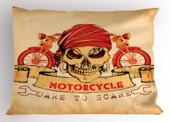 Kuru Kafa ve Motosiklet Desenli Yastık Kılıfı Kırmızı