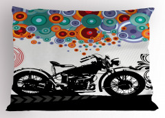 Retro Motosiklet Desenli Yastık Kılıfı Rengarenk