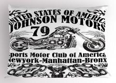 Motosiklet Posteri Etkili Yastık Kılıfı Siyah Beyaz