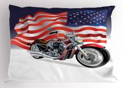 Motosiklet ve ABD Bayrağı Desenli Yastık Kılıfı