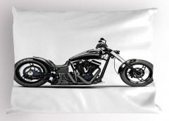 Siyah Motosiklet Desenli Yastık Kılıfı Beyaz Zemin