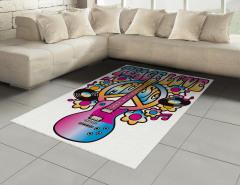 Aşk Barış ve Müzik Halı (Kilim) Rengarenk