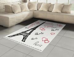 Aşk Temalı Halı (Kilim) Paris Çeyizlik Şık Tasarım