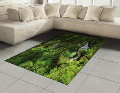 Ormandaki Şelale Temalı Halı (Kilim) Yeşil Ağaç Doğa