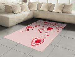 Açık Pembe Fonlu Kalp Halı (Kilim) Romantik