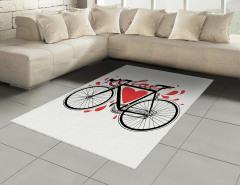 Aşk ve Bisiklet Desenli Halı (Kilim) Kalpli Trend