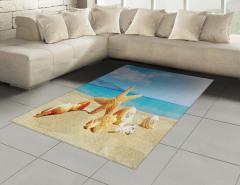 Deniz Yıldızı ve Plaj Halı (Kilim) Bej Mavi