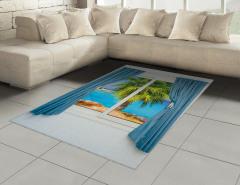 Pencere Deniz Palmiye Halı (Kilim) Mavi