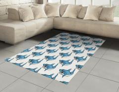 Kızgın Köpek Balığı Halı (Kilim) Mavi Beyaz