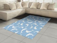 Beyaz Yunus Desenli Halı (Kilim) Mavi Arka Planlı