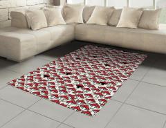 Kırmızı Mantar Desenli Halı (Kilim) Şık Tasarım