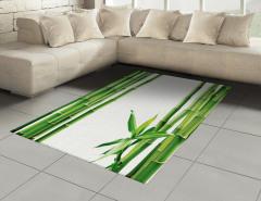 Bambu ve Yaprak Desenli Halı (Kilim) Yeşil Trend