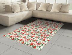 Kırmızı Çiçek Desenli Halı (Kilim) Yaprak Şık Tasarım