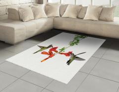 Kırmızı Çiçek ve Kuş Halı (Kilim) Çeyizlik