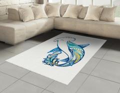Köpek Balığı Desenli Halı (Kilim) Mavi Deniz Temalı