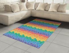 Rengarenk Dalgalar Halı (Kilim) Şık Tasarım