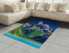 Göl ve Karlı Dağ Temalı Halı (Kilim) Huzur Verici