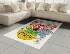 Sirkte Zürafa ve Fil Halı (Kilim) Rengarenk