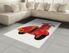 Hippi Temalı Halı (Kilim) Kırmızı Çiçek Motor