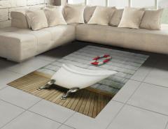 Banyo Temalı Halı (Kilim) Antik Oda Küvet Şık