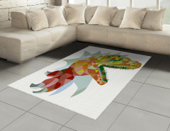 Dinozor Desenli Halı (Kilim) Rengarenk Trend
