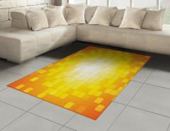 Kare Temalı Halı (Kilim) Sarı Turuncu Geometrik