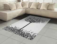 Siyah Beyaz Ağaç Halı (Kilim) Yuvarlak
