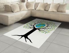 Toprak Ana Temalı Halı (Kilim) Yeşil Ağaç Dünya