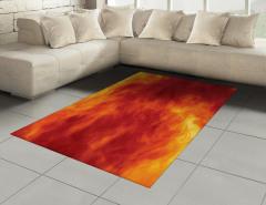Ateşin Büyüsü Halı (Kilim) Ateş Temalı Modern Sanat Sarı