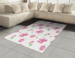 Pembe Çiçek Desenli Halı (Kilim) Şık Tasarım