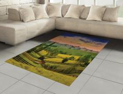 Çiftlik Evi ve Orman Halı (Kilim) Yeşil Turuncu