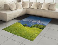 Karlı Dağ ve Orman Halı (Kilim) Orman Dağ Yeşil