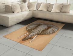 Fil Gravürü Desenli Halı (Kilim) Kahverengi