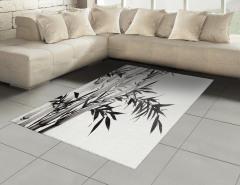 Siyah Beyaz Bambu Halı (Kilim) Şık