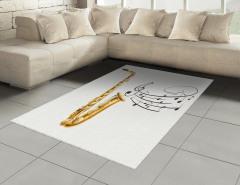 Müzik Temalı Halı (Kilim) Nota Saksafon Beyaz