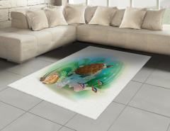Turkuaz Deniz Desenli Halı (Kilim) Kaplumbağalı
