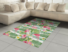 Flamingo Tropikal Çiçek Halı (Kilim) Flamingo ve Tropikal Çiçekler
