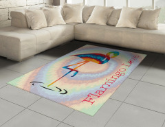 Flamingo Aşkı Halı (Kilim) Modern Sanat