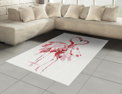 Flamingoların Aşkı Halı (Kilim) Romantik Kırmızı