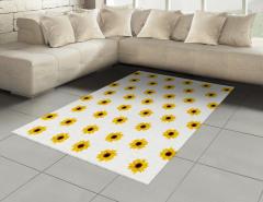 Sarı Çiçek Desenli Halı (Kilim) Dekoratif Çeyizlik