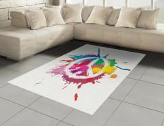 Rengarenk Barış Temalı Halı (Kilim) Sulu Boya